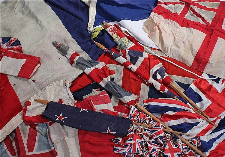 Flags, to including the Union Jack, St Georges Cross, and various others, (