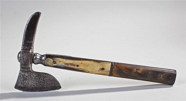 Rare 18th century Hunting / Furriers axe, the signed Gibbs steel axe head a