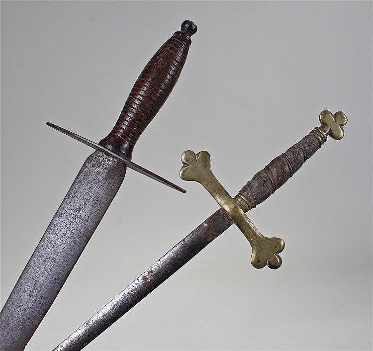 Early 19th Century boarding sword, with steel blade and wood grip, together