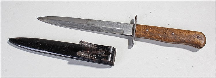 German World War II fighting knife, with black scabbard and belt hook, beec