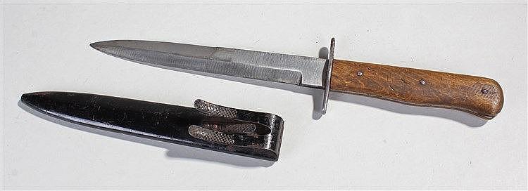 German World War II fighting knife, with black scabbard and belt hook, beec