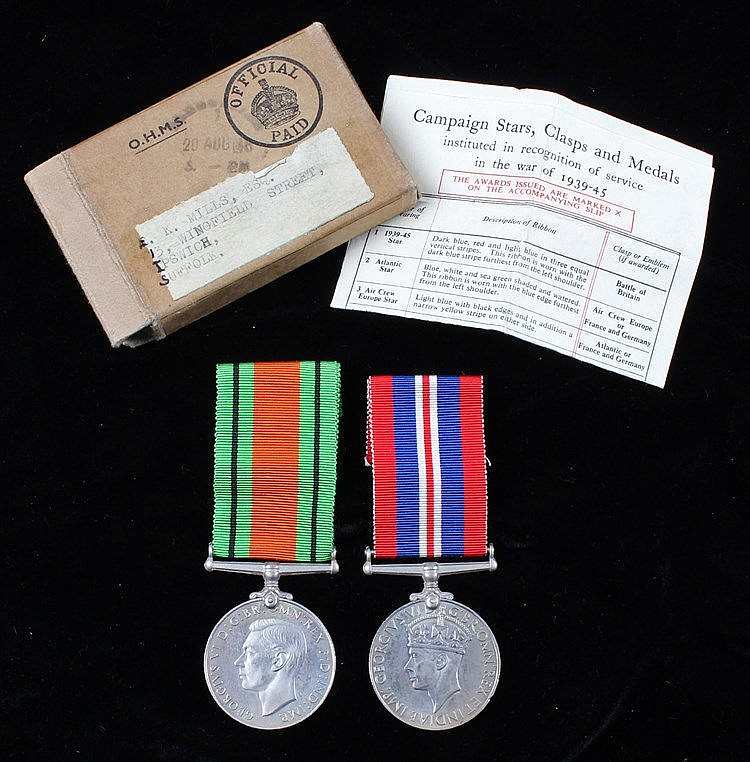 World War II medals, to include a Defence medal and War medal, in original