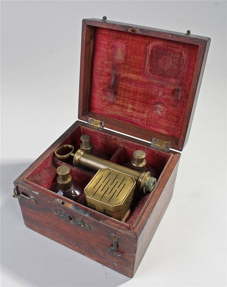 19th Century Savigny blood letting cupping set, to including a brass scarif