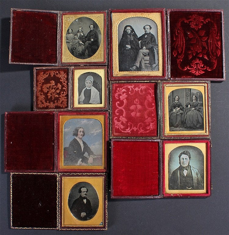 Four Ambrotypes and three Daguerreotypes, the Daguerreotypes with a lady, a