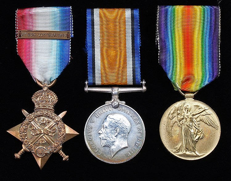 First World War Mons Trio, Mons 1914 Star with clasp, British War Medal, Vi