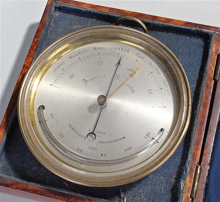 Fine early 19th Century Dent barometer/thermometer, the signed silvered dia
