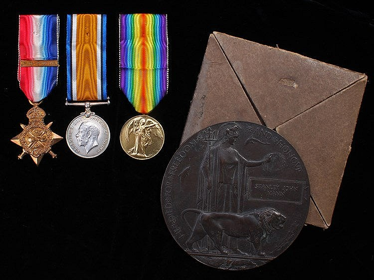 Mons casualty group, Trio, Mons 1914 Star with clasp, British War Medal, Vi
