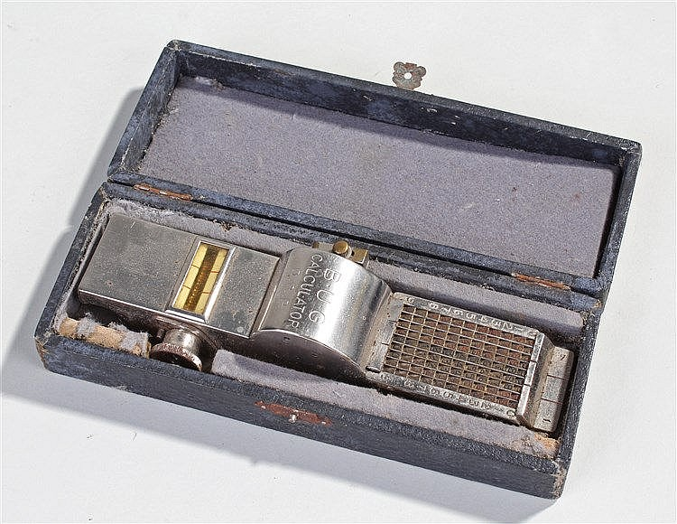 1920's BUG calculator in case, with label circa 1923, numbered 6531