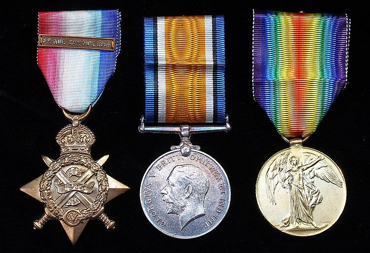 First World War Mons trio, 1914 Star with clasp, British War Medal and Vict