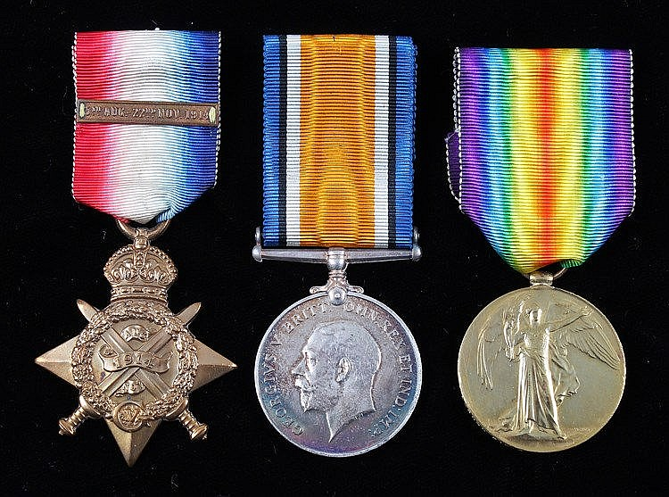 Mons Trio, 1914 Star with bar, Victory and War medal (4033 S.STH: P.A. WARR