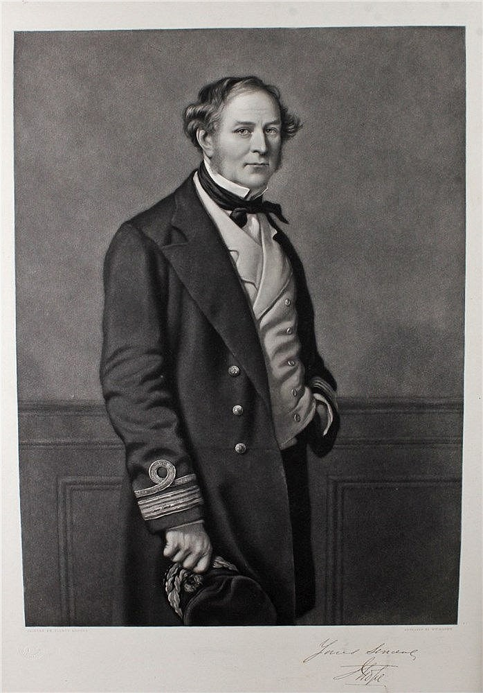 Captain J Hope, a 19th Centtury engraving by Sidney Hodges, 35cm x 49cm