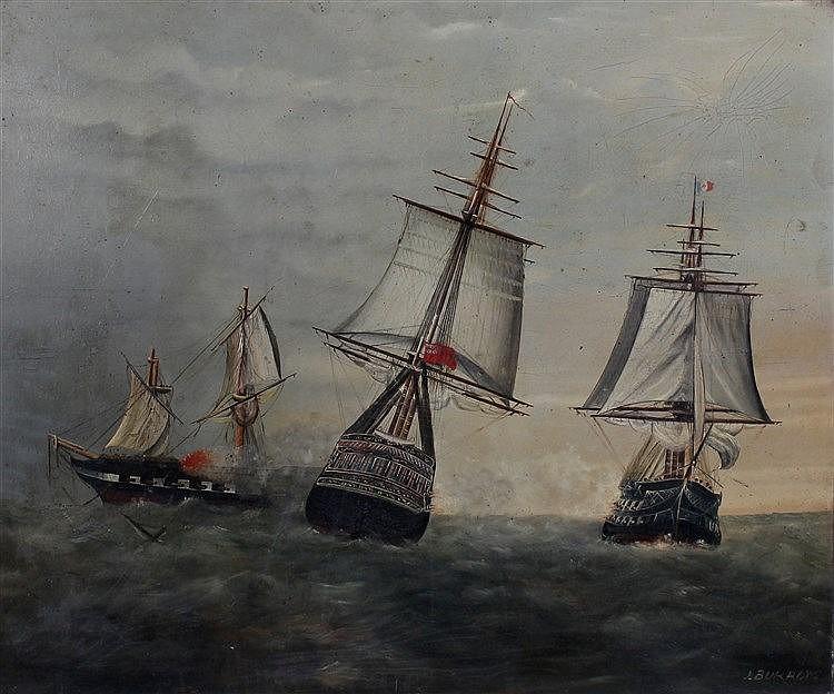 J Burrows, Ships in battle, Oil on board, signed lower left, 55cm x 45.5cm