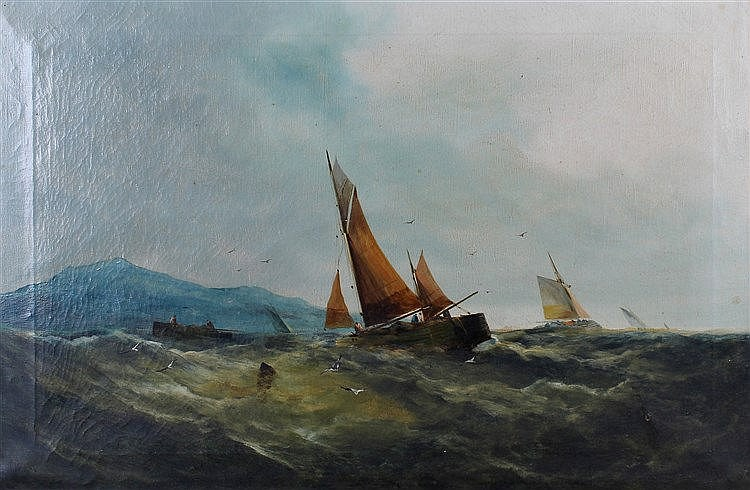 George Knight (British 19th Century) Shipping in choppy waters, signed oil