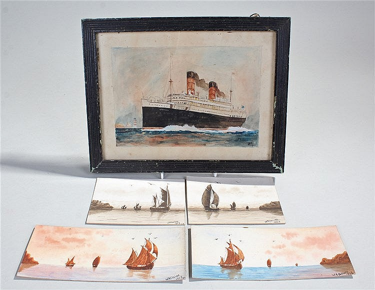 W.A. Elliott, a series of four watercolours dated 1923 with boats at sea, t