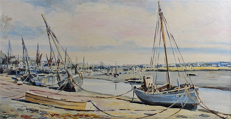 Tait (20th Century British School), Ships in Maldon Harbour, Oil on board,