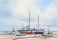 Roger Finch, boats landed, signed watercolour, 30cm x 21cm