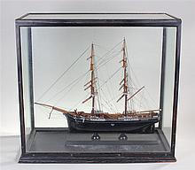Ships model, the ship Canadian, the two masted ship under a glass case, tog