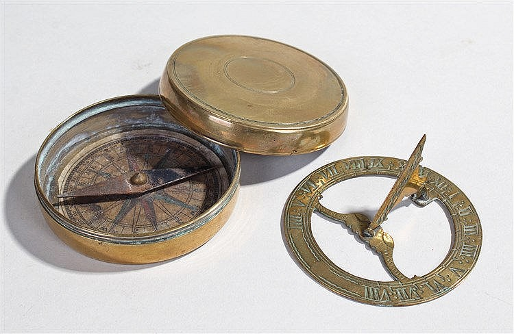 18th Century pocket brass sundial, the screw top with interior paper label