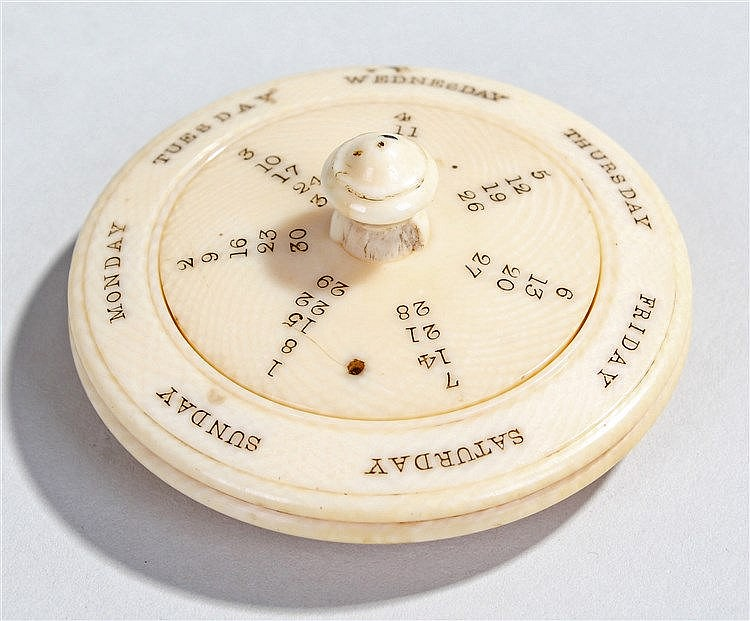 Victorian ivory perpetual calendar, with swivel centre and outer days of th