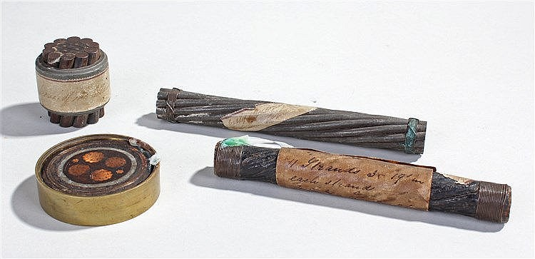 Four sections of telegraph cables, three with labels attached, (4)