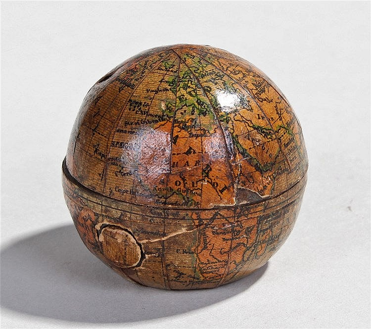 19th Century miniature globe inkwell, made in Austria, the paper overlaid o