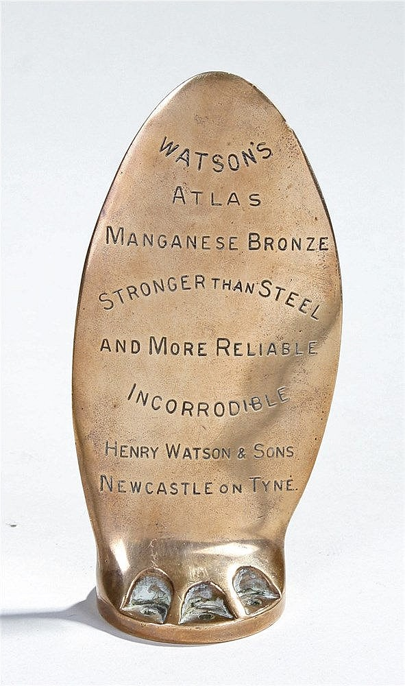 Bronze variable propeller desk ornament, the inscription states
