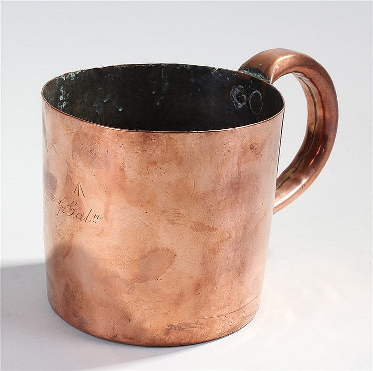 Early 19th Century copper Naval measure, 1/2 Gallon with arrow mark to the