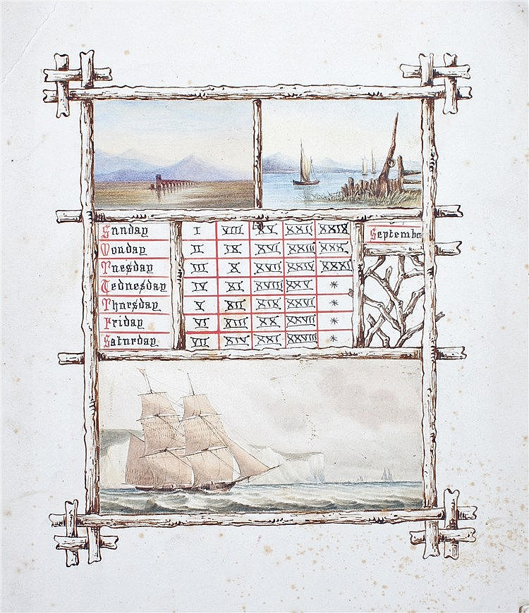 Unusual 19th Century watercolour perpetual calendar, painted with a ship at