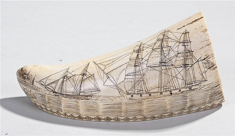 Early 20th Century scrimshaw whales tooth, the tooth with a flat side edge,