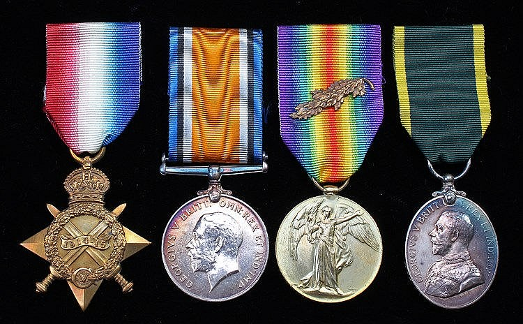 First War Mentioned in Dispatches trio, 1914-15 Medal, British War Medal, V