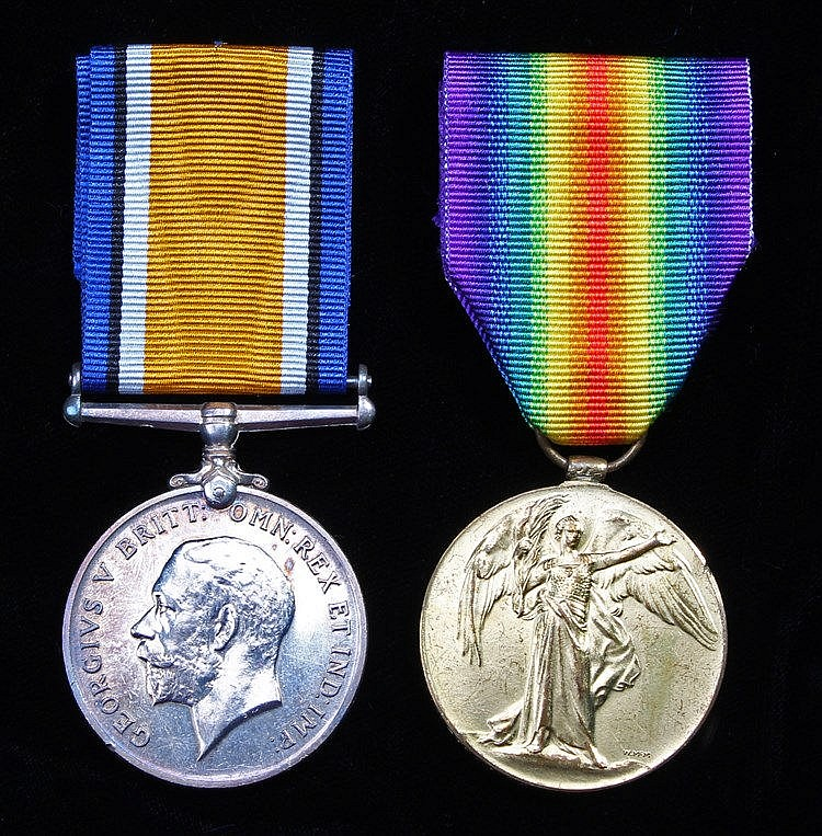 First War Suffolk Regiment casualty pair, British War Medal, Victory Medal