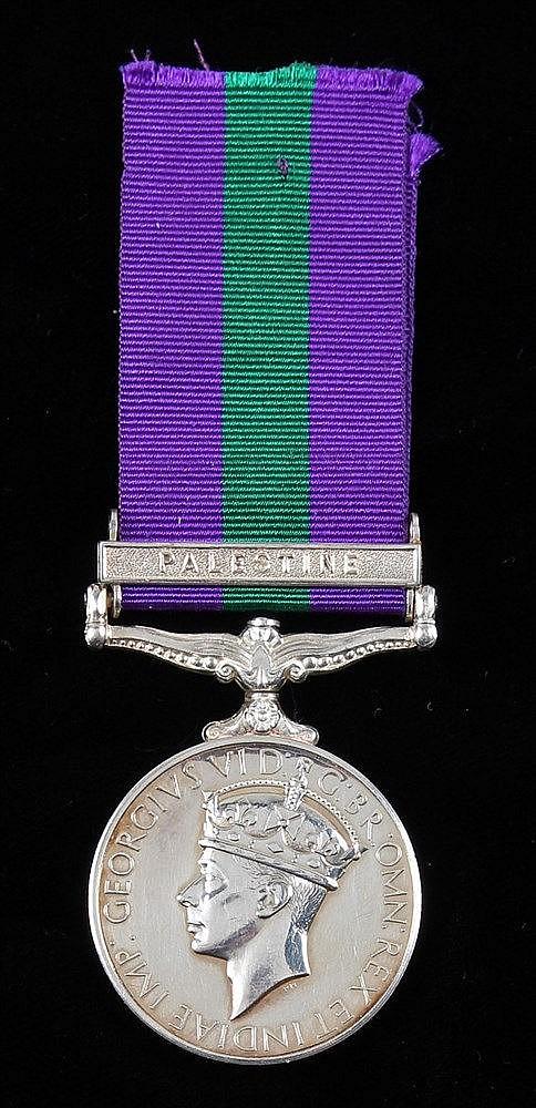General Service medal 1918-1962, one clasp Palestine, (4342123 PTE L E NIGH