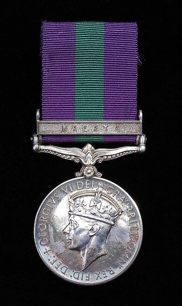 General Service medal 1918-1962, GVI, 1 clasp Malaya, (T/22329753 DVR. D.J.