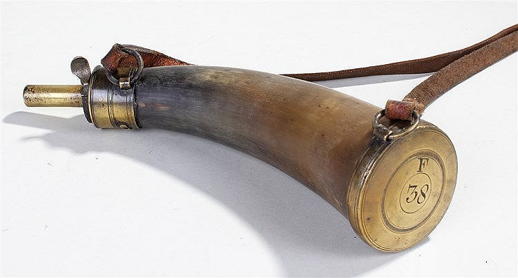 Late 18th Century horn powder flask, with brass nozzle, tapering horn body,