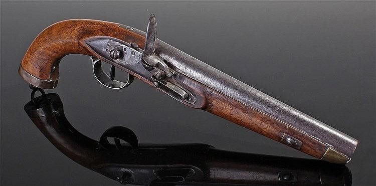 Early 19th Century Continental Naval flintlock pistol, the walnut stock wit