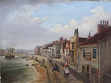 Whitby Harbour, 19th Century oil on canvas of Whitby seafront and harbour,