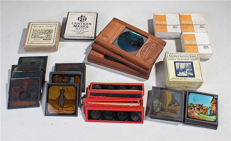 Assorted magic lantern slides, to include homes, illustrations, junior lect
