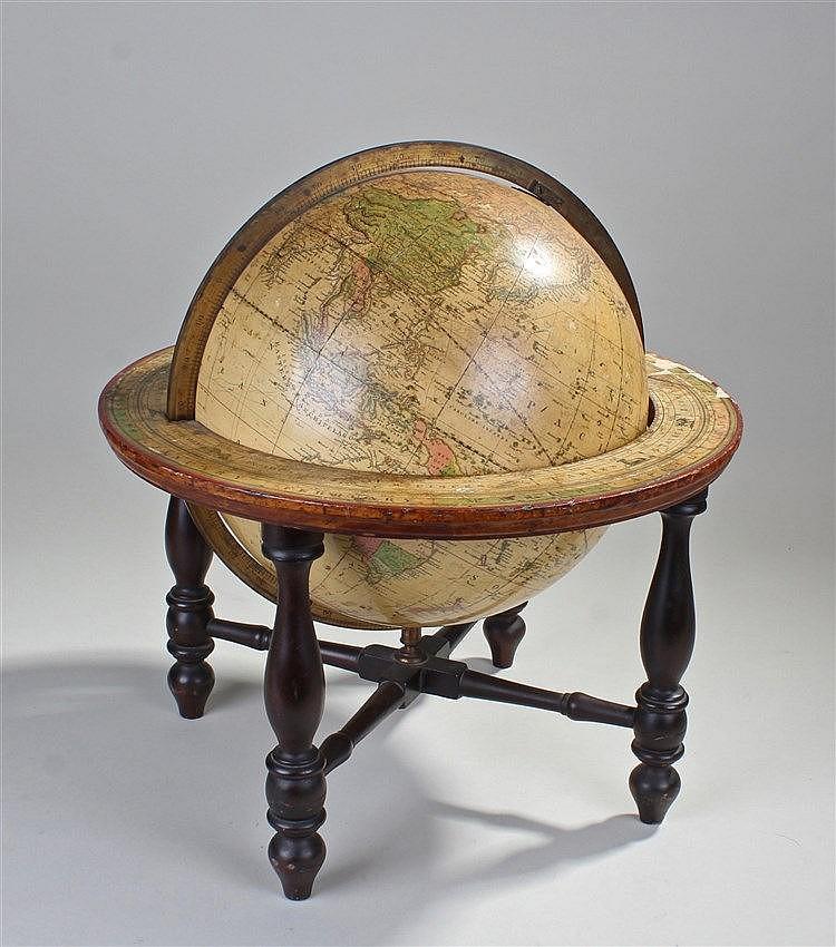 19th Century Joslin's terrestrial globe, maker Gilman Joslin, Boston, Terre