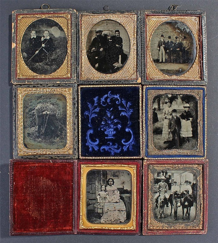 Seven Ambrotypes, to include a pair of Naval men, a mother and child, four