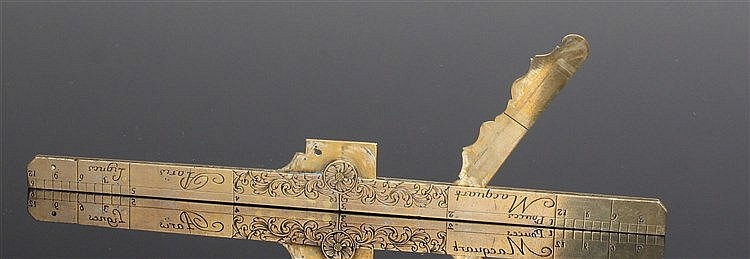 Fine 18th Century brass folding set square, by Macquart Paris, the swag and