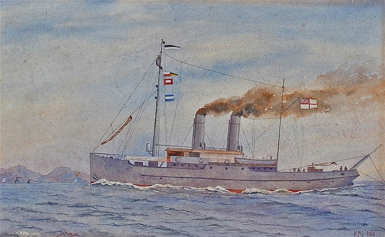 Watercolour of HMS Rose, monogrammed A.W.D 1918, the ship at sea with two c