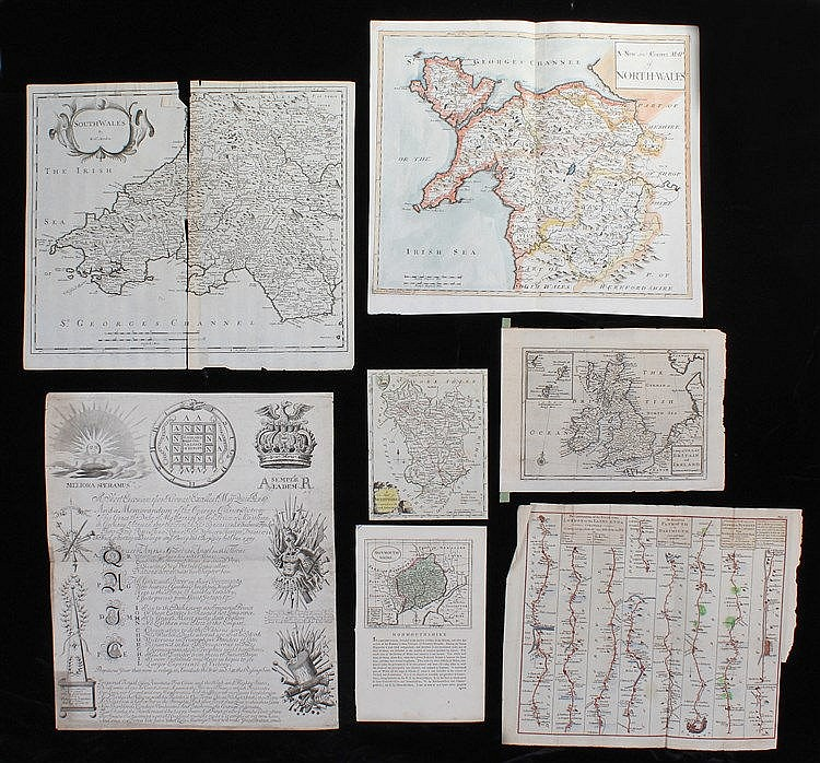 Mixed maps, to include Monmouthshire, Derbyshire, Moll map of Britain, Engl