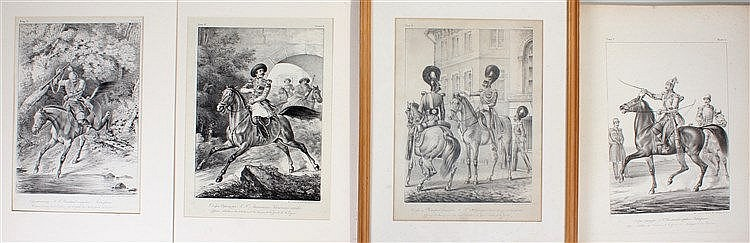Four Russian prints depicting Russian Cavalry Officers. Titles in Russian a