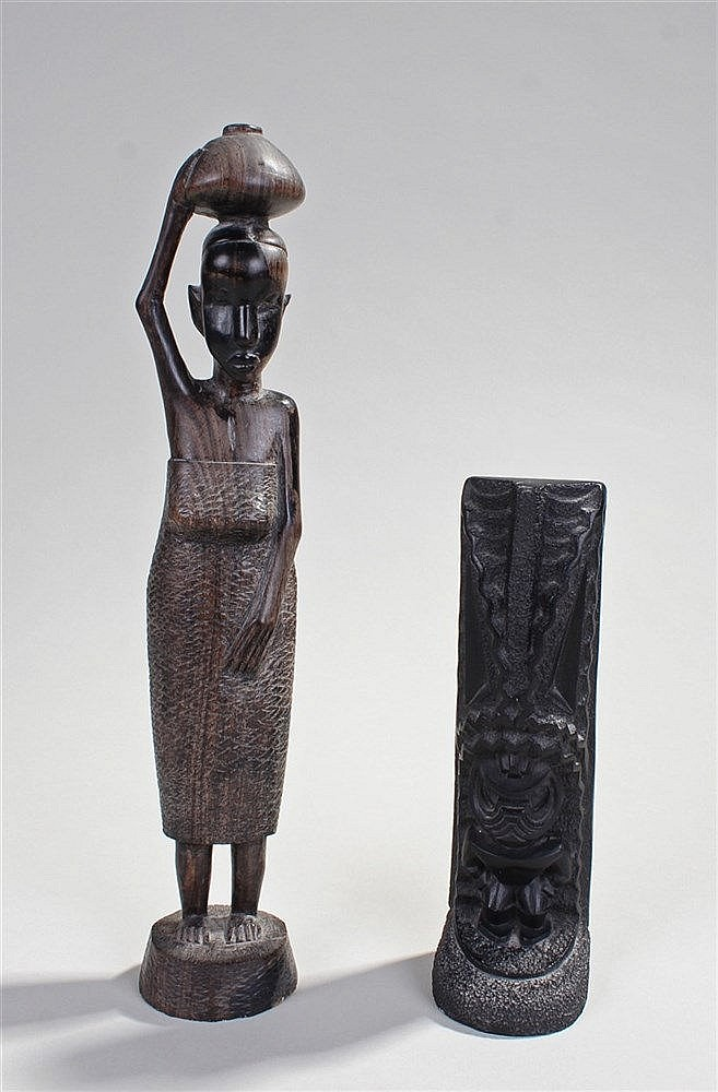 African carved figure, carved as a lady with basket on her head, together w