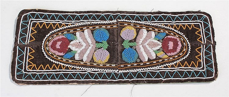 Late 19th century American Indian bead work strip, decorated with coloured