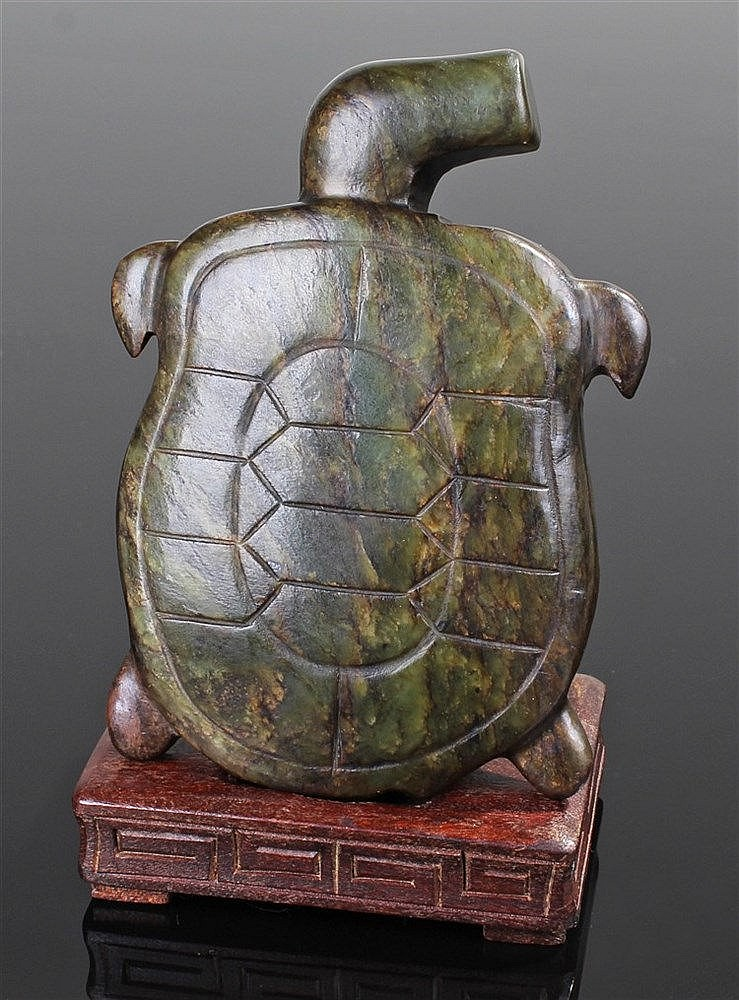 Rare 19th Century Polynesian green turtle, the stylised carved turtle with