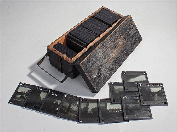 Collection of magic lantern slides, to include buildings, figures, scenes o