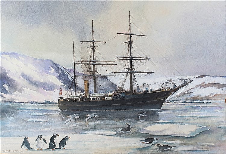 Kenneth Cooper, (20th Century) Ship in the Antarctic, signed and dated 95,