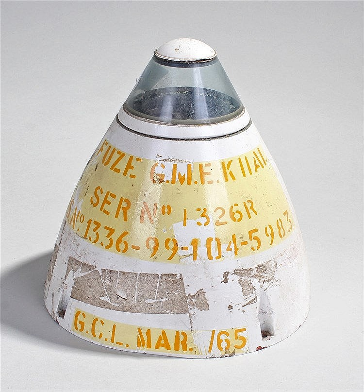 Missile head, the fuse head with glass top, orange stencilled lettering, 19