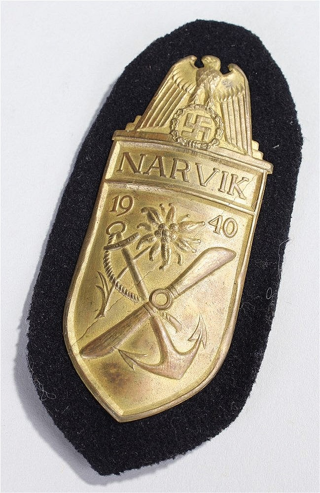 Rare World War II German Navy Narvik Battle Shield, the shield with an eagl
